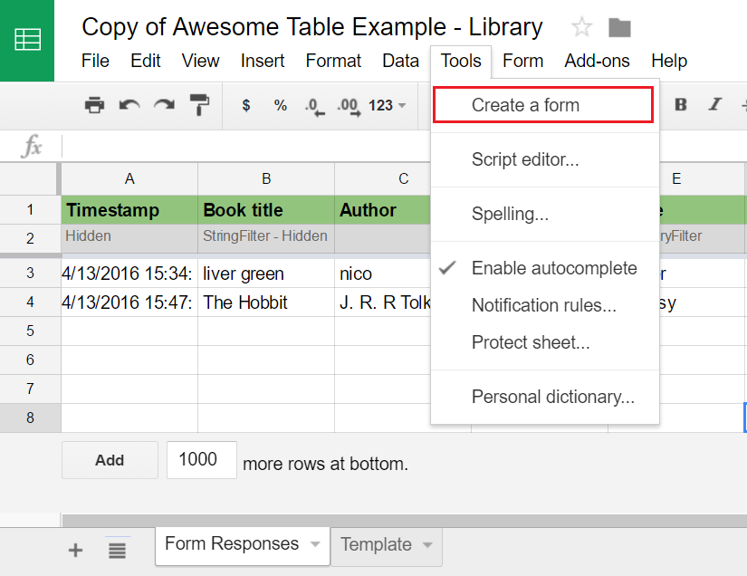 Use a Google Form to let people add new entries to your spreadsheet ...