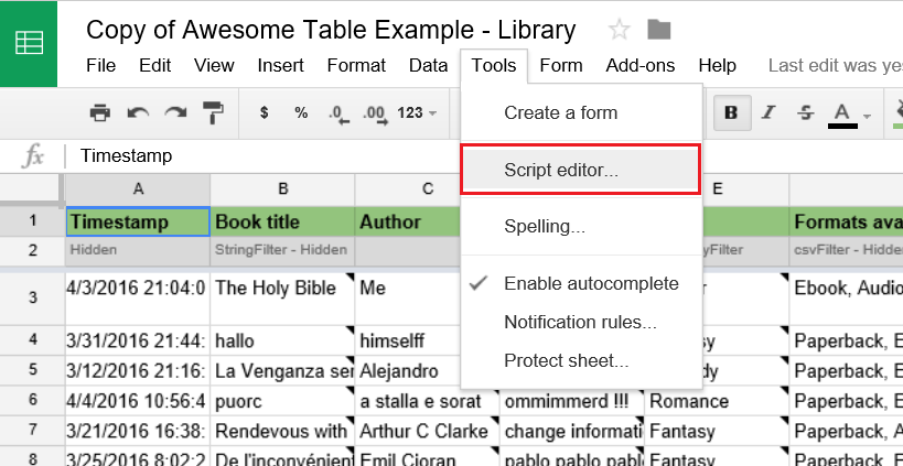 Connect a Google Form to Awesome Table – Documentation - Awesome ...