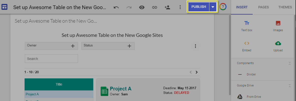 Embed Awesome Table on the New Google Sites – Documentation