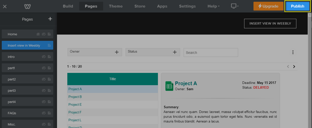 Embed Awesome Table on Weebly – Documentation - Awesome Table Support