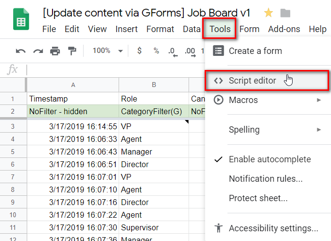 Allow users to update your view's data with Google Forms