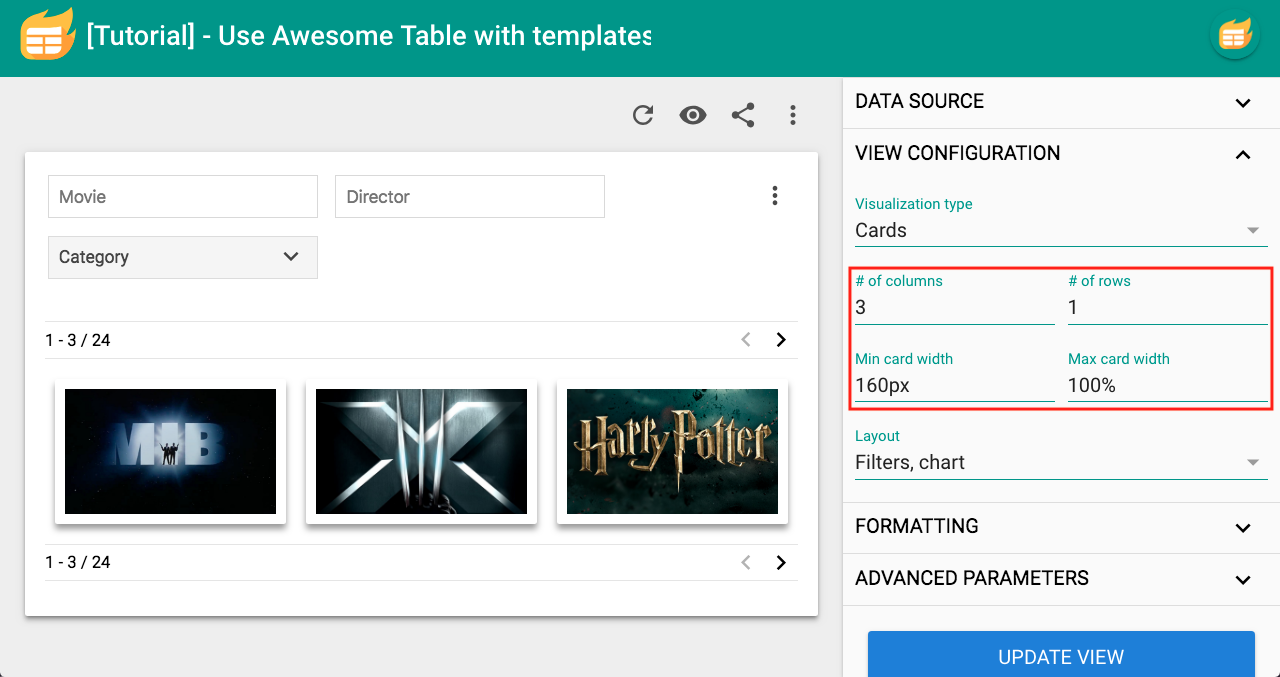 Part 1] Create a card view – Documentation - Awesome Table